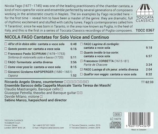 Fago: Cantatas and Ariettas for Solo Voice and Continuo - Riccardo Angelo Strano