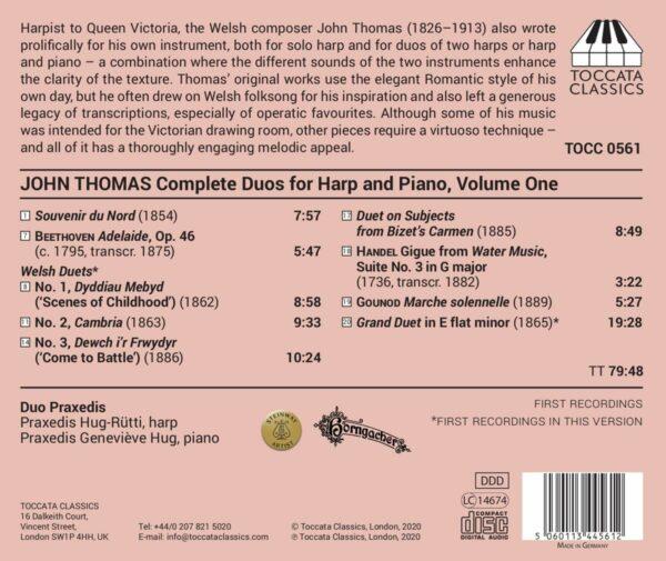 John Thomas: Complete Duos For Harp And Piano, Vol. 1 - Duo Praxedis