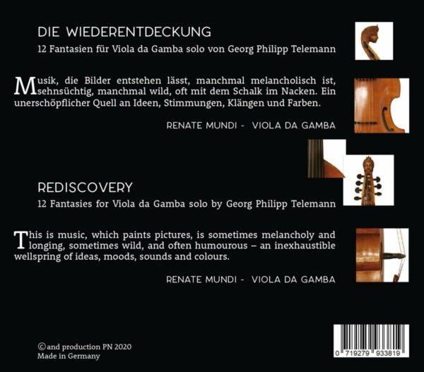 Telemann: 12 Fantasien Für Viola Da Gamba - Renate Mundi
