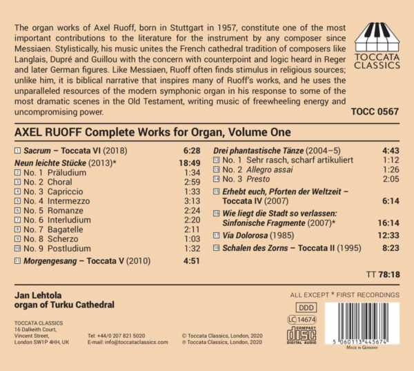 Axel Ruoff: Complete Works For Organ, Vol.1 - Jan Lehtola