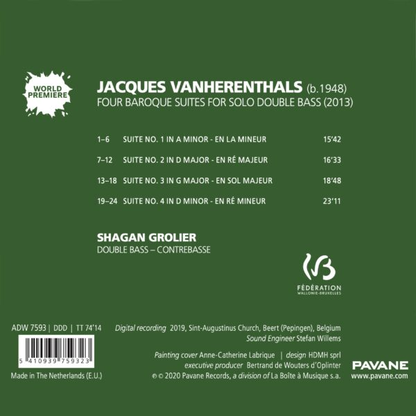 Jacques van Herentals: Four Baroque Suites For Solo Double Bass - Shagan Grolier