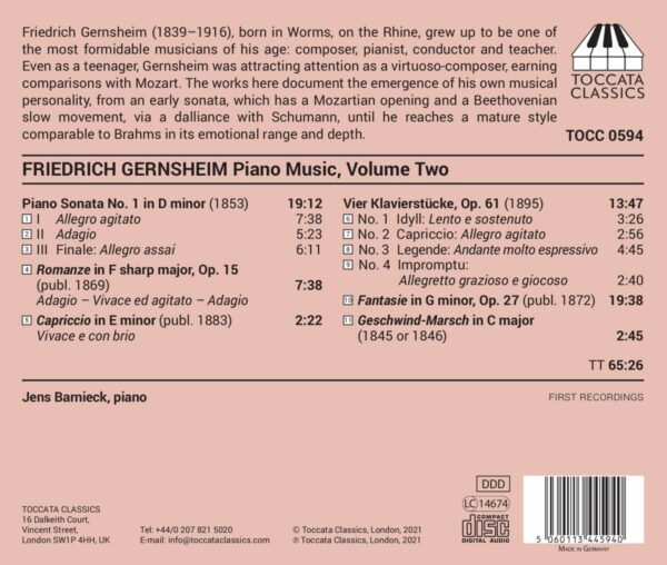 Friedrich Gernsheim: Piano Music Vol.2 - Jens Barnieck