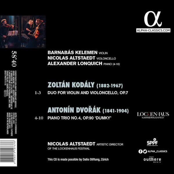 """Kodály: Duo for Violin and Violoncello, Op. 7 / Dvořák: Piano Trio, Op. 90 """"Dumky"""" - Nicolas Altstaedt"""