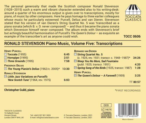 Henry Purcell - Ronald Stevenson - Frederick Deliu: Piano Music,  Volume Five - Christopher Guild