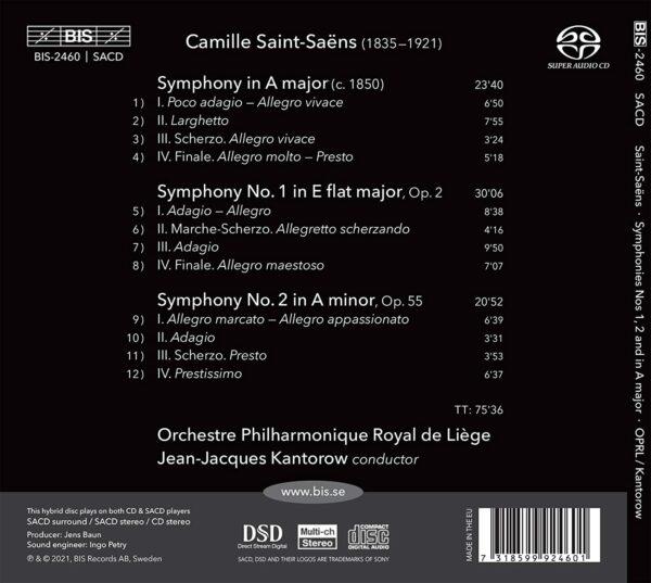 Saint-Saëns: Symphonies Nos.1 & 2, Symphony In A Major - Jean-Jacques Kantorow