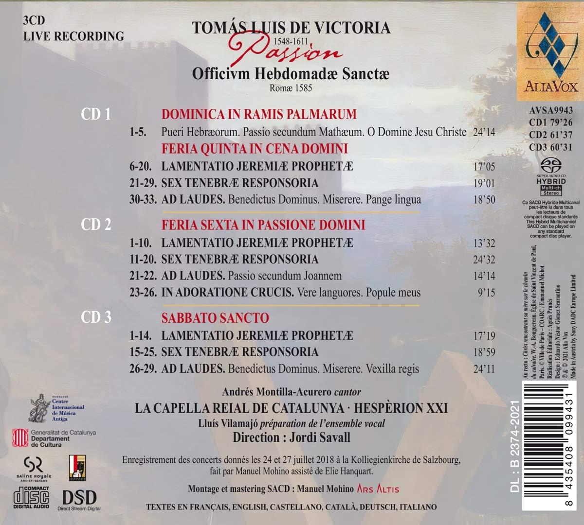 Victoria: Passion, Officium Hebdomadae Sanctae - Jordi Savall