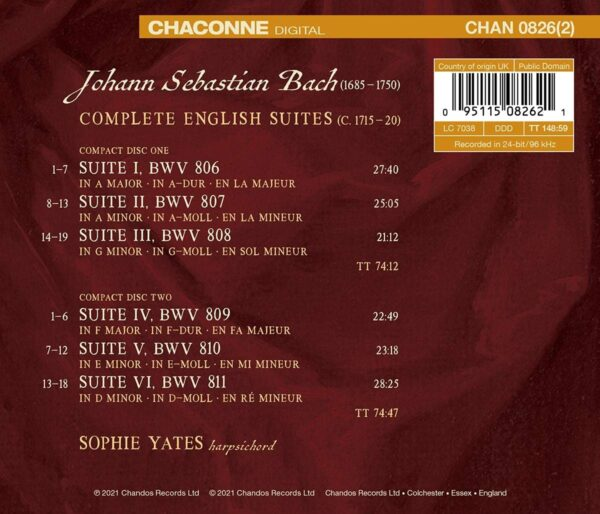 Bach: Complete English Suites - Sophie Yates