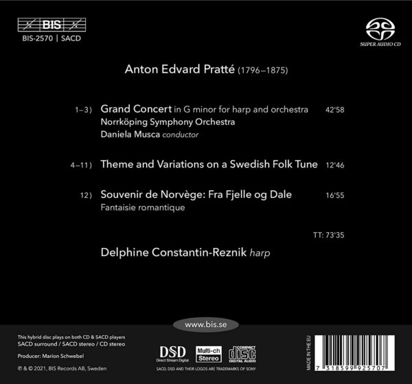 Anton Edvard Pratté: Works For The Harp - Delphine Constantin-Reznik